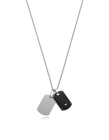 Iconic Stainless Steel And Carbon Fiber Print Men's Necklace