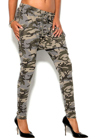 Army Green Camo Print Drawstring Casual Harem Pants