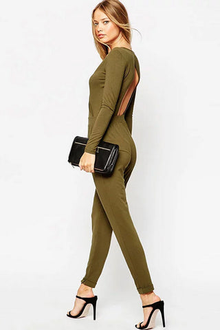 Army Green Open Back Surplice V Neck Sexy Jumpsuit