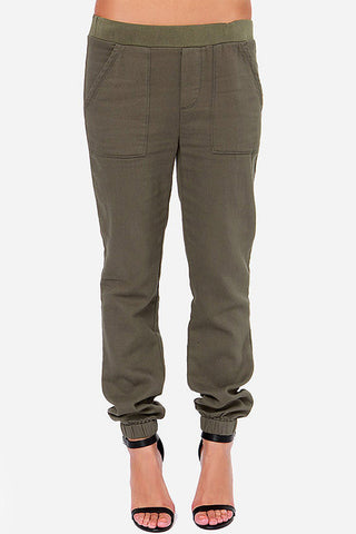 Army Green Pockets Elastic Detail Cargo Pants