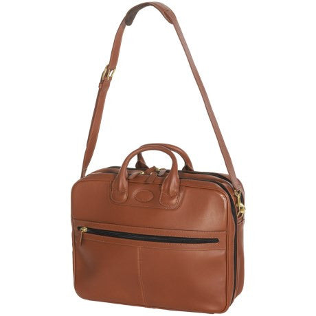 Aston Zip Leather Briefcase with Shoulder Strap