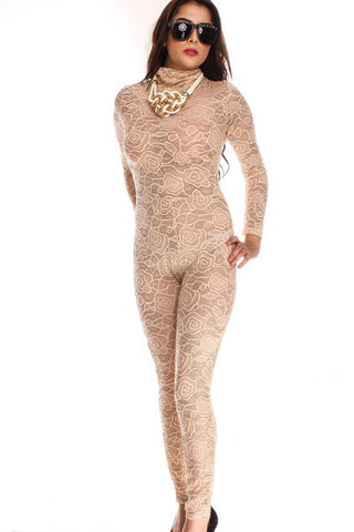 Beige Mock Neck Lace Slim Jumpsuit