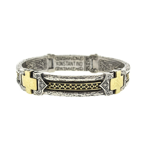 """Konstantino Sterling Silver and 18k Yellow Gold Mens Cross Bracelet"""