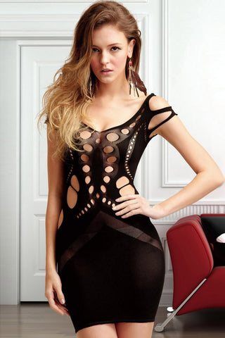 Black Cutout Accent Sheer Mesh Chemise