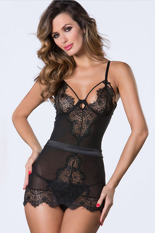 Black Eyelash Lace Cutout Back Chemise