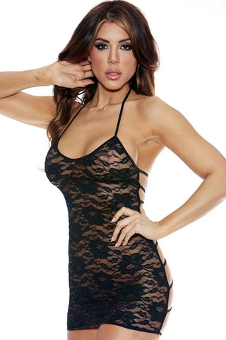 Black Floral Lace Halter Strappy Back Chemise
