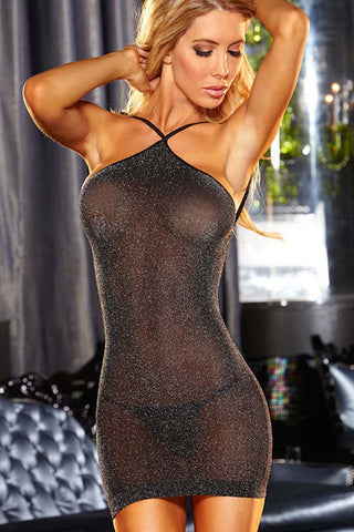 Black Halter Neck Backless Sheer Chemise