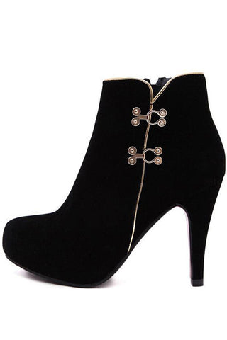 Black Metallic Detail Round Toe Platform Booties