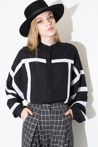 Black White Striped Puff Sleeve Casual Chiffon Blouse