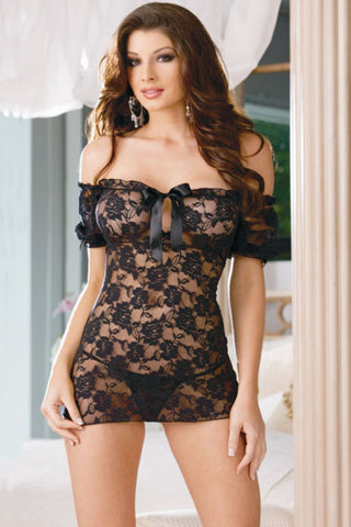 Black Lace Bare Shoulder Keyhole Chemise