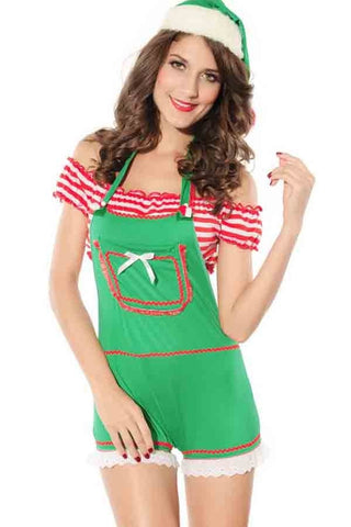 3 Pc Stripe Crop Top Romper Candy Santas Costume