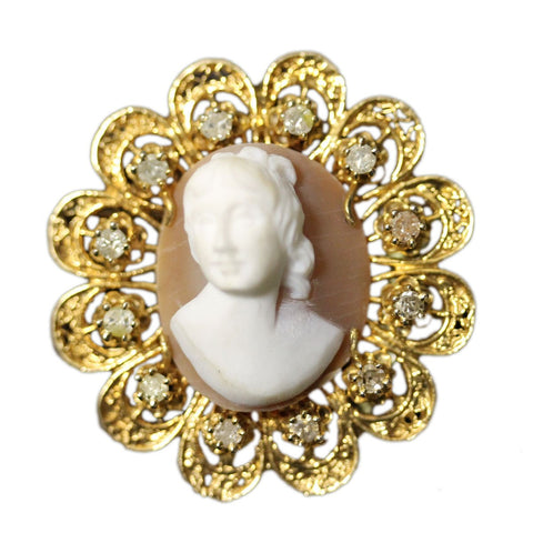 """14K Yellow Gold Shell Cameo Diamond Pin""-40569"