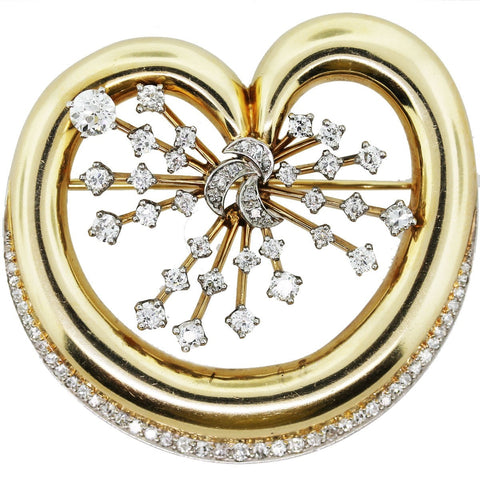 """14K Yellow Gold Diamond Heart Spray Pin"""