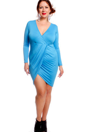 AQUA VNECK LONG SLEEVES RUFFLED LOOK PENCIL STYLE PLUS SIZE PARTY DRESS