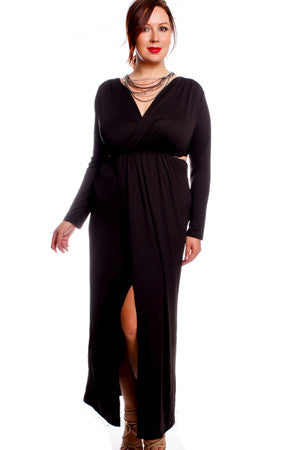 BLACK LONG SLEEVE SIDE CUT-OUTS V-NECK FRONT SLIT PLUS SIZE PARTY DRESS