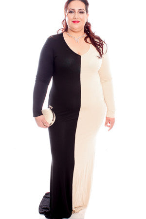 BLACK AND BEIGE LONG SLEEVE PLUS SIZE MAXI DRESS