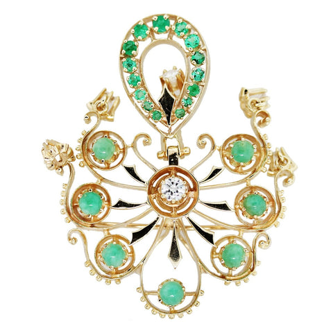 """14K Yellow Gold Jade Emerald and Diamond Pin"""