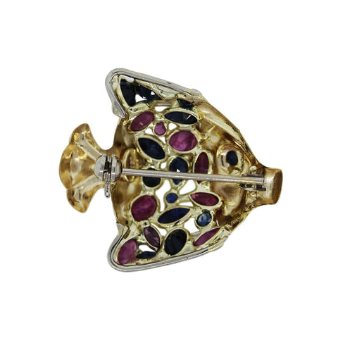 """14K Yellow Gold Sapphire and Ruby Fish Pin"""