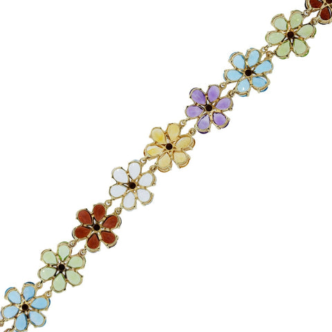 """10K Yellow Gold Multi-Gemstone Floral Bracelet"" - SprintShopping"