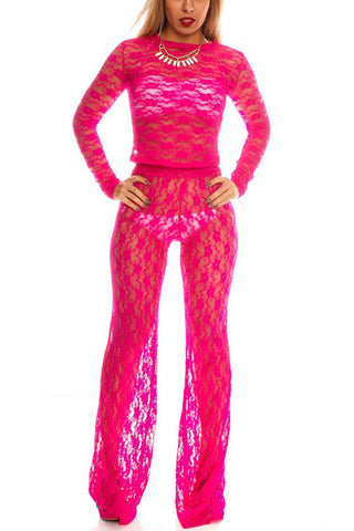 Fuchsia Sheer Lace Wide Leg Pants 2pc Outfit