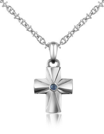 Central Sapphire Stainless Steel Cross Pendant Necklace