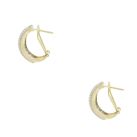 """10k Two Tone 1.50ctw Diamond Huggie Earrings"" - SprintShopping"
