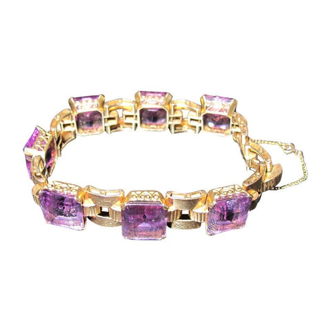 """10K Yellow Gold Amethyst Bracelet"" - SprintShopping"