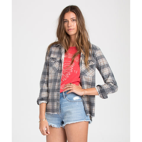 Billabong Waiting For Dawn Flannel Womens Black_1820