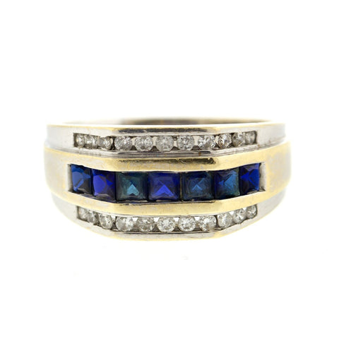 """10k White Gold Diamond and Sapphire Mens Ring"" - SprintShopping"