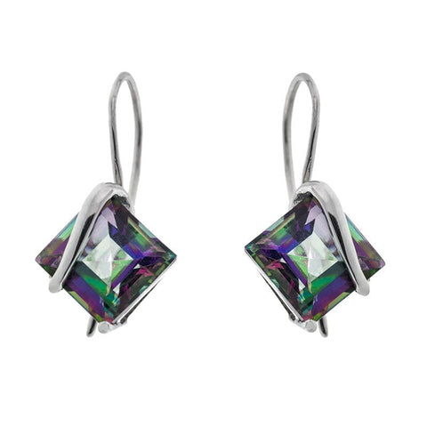 """10k White Gold Mystic Topaz Doublet Earrings"" - SprintShopping"
