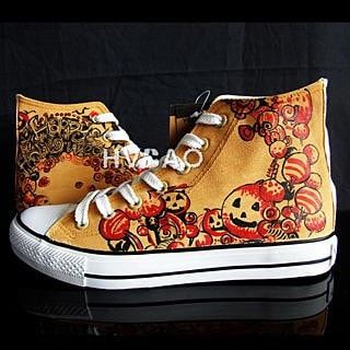 """Halloween Pumpkins"" High-Top Canvas Sneakers"