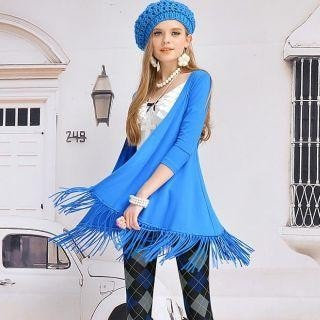 3/4-Sleeve Fringed Cardigan