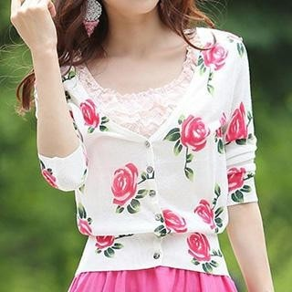 3/4 Sleeved Floral Print Knit Cardigan