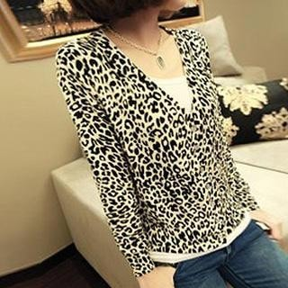 3/4 Sleeved Leopard Print Cardigan
