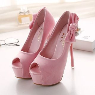 Bow Platform Peep-Toe Pumps