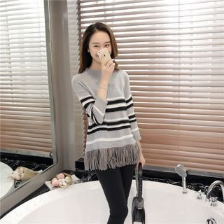 3/4-Sleeve Fringe Striped Knit Top