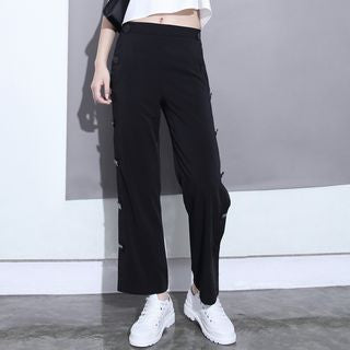 Buttoned-Side Straight-Cut Pants