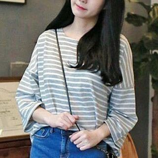 3/4-Sleeve Striped T-Shirt_2679