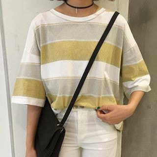 3/4-Sleeve Striped T-Shirt_9211
