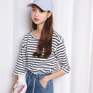 3/4-Sleeve Striped T-Shirt_9257