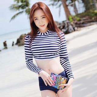 2-piece Long-Sleeve Stripe Swimsuit