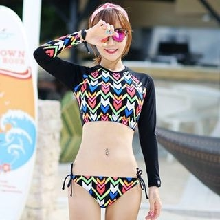 2-piece Patterned Long-Sleeve Swimsuit_9534