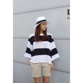 3/4-Sleeve Color-Block Knit Top