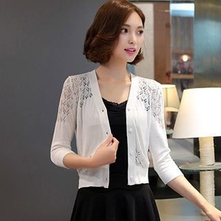 3/4 Sleeve Lace Knitting Panel Cardigan