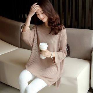 3/4-Sleeve Chiffon Panel Knit Top