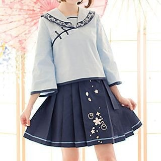 3/4-Sleeve Embroidered Top / Pleated Skirt