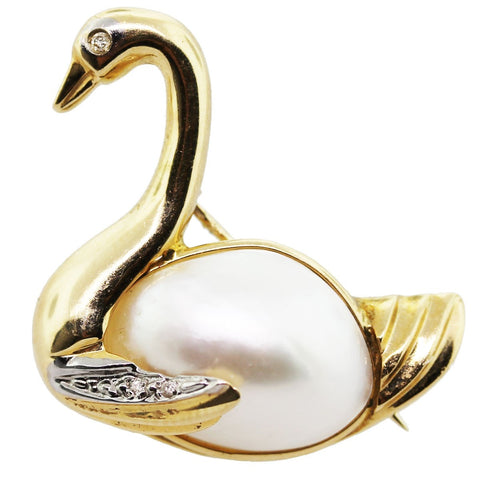 """14K Mabe Pearl and Diamond Swan Vintage Pin"" - SprintShopping"