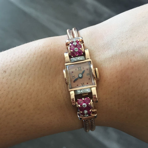 """14K Rose Gold Deco Style 0.20ctw Diamond & Ruby 14.66mm Watch"" - SprintShopping"