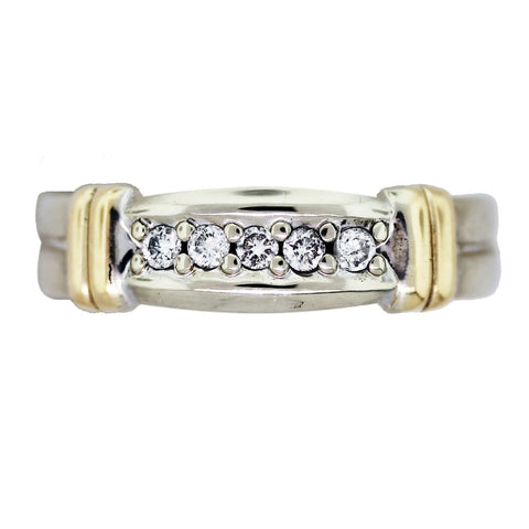 """14K Two Tone Gold and Diamond Wedding Mens Band"" - SprintShopping"