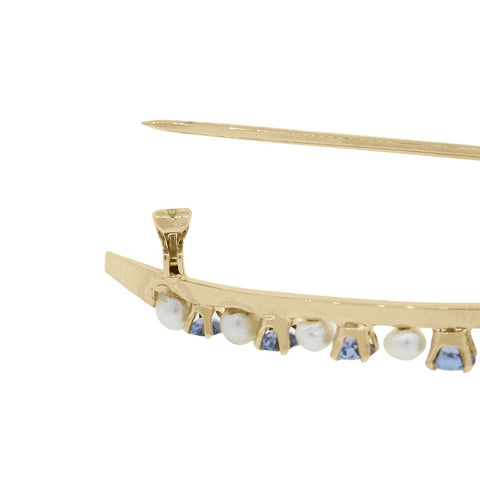 """14K Yellow Gold Sapphire and Pearl Pin"""